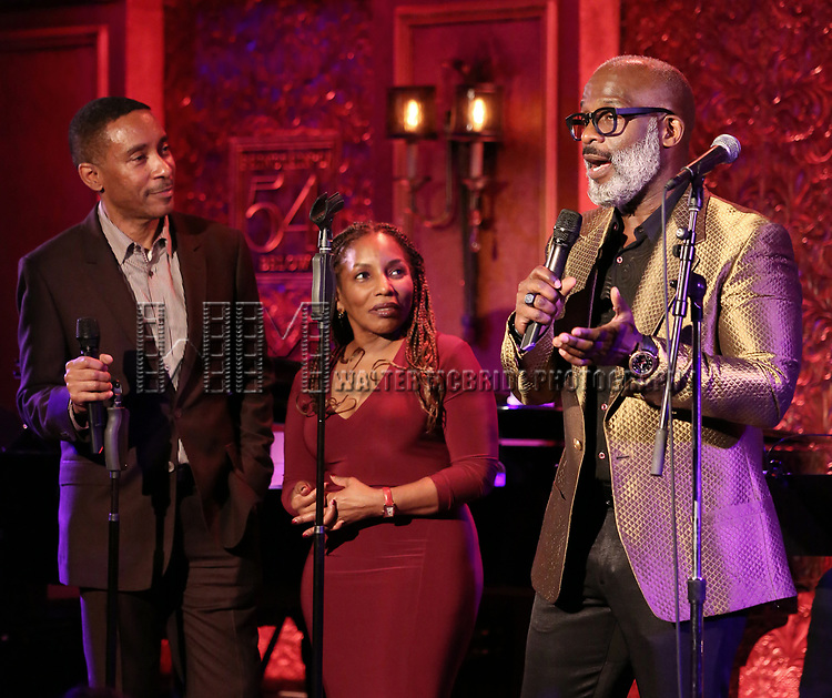"""Charles Randolph-Wright, Stephanie Mills and BeBe Winans on stage during a Song preview performance of the BeBe Winans Broadway Bound Musical """"Born For This"""" at Feinstein's 54 Below on November 5, 2018 in New York City."""