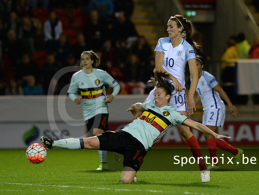 20160408 - ROTHERHAM , ENGLAND : Belgian Lenie Onzia (left)  pictured with English Jill Scott (10) during the female soccer game between England and The Belgian Red Flames - Belgium , the fourth game in the qualification for the European Championship in The Netherlands 2017  , Friday 8 th April 2016 at AESSEAL New York Stadium in Rotherham , England . PHOTO DAVID CATRY