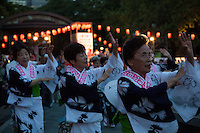 Bon Odori dancing in Hibiya Park, Tokyo, Japan. Friday August 22nd 2014