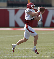 NWA Democrat-Gazette/ANDY SHUPE<br /> Arkansas linebacker Hayden Henry catches a ball Tuesday, Aug. 13, 2019, during practice at the university practice facility in Fayetteville. Visit nwadg.com/photos to see photographs from the practice.