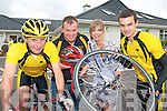 WHEELS OF FIRE: 2008 Kerry Rose Katie Nolan launching the Castleisland Day Care Centre Charity Cycle organised by Currow  Cycling Club..L/r. Eamonn Collier, John Breen, Katie Nolan and Shane O'Neill.   Copyright Kerry's Eye 2008