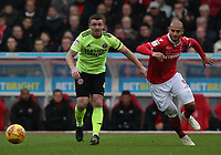 Sheffield United's John Fleck and Nottingham Forest's Adlene Guedioura<br /> <br /> Photographer Rachel Holborn/CameraSport<br /> <br /> The EFL Sky Bet Championship - Nottingham Forest v Sheffield United - Saturday 3rd November 2018 - The City Ground - Nottingham<br /> <br /> World Copyright &copy; 2018 CameraSport. All rights reserved. 43 Linden Ave. Countesthorpe. Leicester. England. LE8 5PG - Tel: +44 (0) 116 277 4147 - admin@camerasport.com - www.camerasport.com
