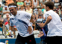 Ross Hutchins (GBR) and Jordan Kerr (AUS) against Daniel Nester (CAN) and Nenad Zimonjic (SRB) in the  Final of the Mens Doubles. Nestor & Zimonjic beat  Hutchins & Kerr  6-3 7-6(5)..International Tennis - Medibank International Sydney - Sat 16 Jan 2010 - Sydney Olympic Park  Tennis Centre- Sydney - Australia ..© Frey - AMN Images, 1st Floor, Barry House, 20-22 Worple Road, London, SW19 4DH.Tel - +44 20 8947 0100.mfrey@advantagemedianet.com
