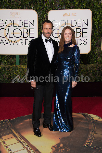 Presenter Tom Ford and actress Julianne Moore attend the 73rd Annual Golden Globes Awards at the Beverly Hilton in Beverly Hills, CA on Sunday, January 10, 2016. Photo Credit: HFPA/AdMedia