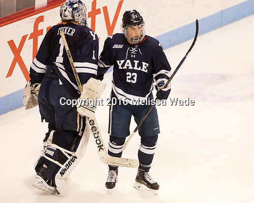 Sam Tucker (Yale - 1), Charlie Curti (Yale - 23) The Boston University Terriers defeated the visiting Yale University Bulldogs 5-2 on Tuesday, December 13, 2016, at the Agganis Arena in Boston, Massachusetts.