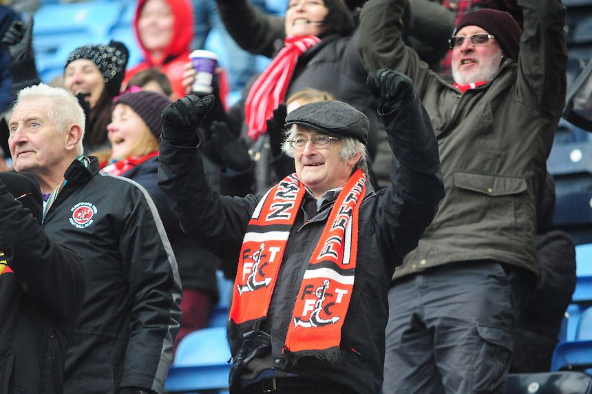 Fleetwood Town fans celebrate the second goal<br /> <br /> Photographer Andrew Vaughan/CameraSport<br /> <br /> Football - The Football League Sky Bet League One - Coventry City v Fleetwood Town - Saturday 27th February 2016 - Ricoh Stadium - Coventry   <br /> <br /> &copy; CameraSport - 43 Linden Ave. Countesthorpe. Leicester. England. LE8 5PG - Tel: +44 (0) 116 277 4147 - admin@camerasport.com - www.camerasport.com