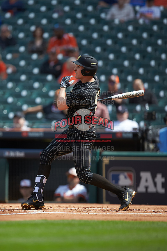 JJ Bleday (51) of the Vanderbilt Commodores follows through on his swing against the Sam Houston State Bearkats in game one of the 2018 Shriners Hospitals for Children College Classic at Minute Maid Park on March 2, 2018 in Houston, Texas. The Bearkats walked-off the Commodores 7-6 in 10 innings.   (Brian Westerholt/Four Seam Images)