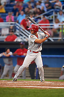 Auburn Doubledays shortstop Max Schrock (9) at bat during a game against the Batavia Muckdogs on September 5, 2015 at Dwyer Stadium in Batavia, New York.  Batavia defeated Auburn 6-3.  (Mike Janes/Four Seam Images)