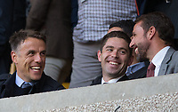 England women manager Phil Neville with England national senior team manager Gareth Southgate during the Premier League match between Wolverhampton Wanderers and Manchester United at Molineux, Wolverhampton, England on 19 August 2019. Photo by Andy Rowland.