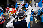 JUNE 29, 2019 - A police officer directs protestors at a demonstration during the G20 Summit in Osaka, Japan. (Photo by Ben Weller/AFLO) (JAPAN) [UHU]