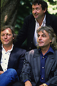 PINK FLOYD - L-R: David Gilmour, Nick Mason, Rick Wright - photocall to promote their new album Delicate Sound of Thunder in the park of the Chateau de Versailles, Versailles France - 09 Jun 1988.  Photo credit: Louis Vincent/Dalle/IconicPix
