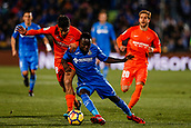 12th January 2018, Estadio Coliseum Alfonso Perez, Getafe, Spain; La Liga football, Getafe versus Malaga; Amath Ndiaye (Getafe CF) fights for control of the ball