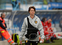 20180410 - FERRARA , ITALY : Belgian physiotherapist Fabienne Van De Steene pictured during the female soccer game between Italy and the Belgian Red Flames , the fifth game in the qualificaton for the World Championship qualification round in group 6 for France 2019, Tuesday 10 th April 2018 at Stadio Paolo Mazza / Stadio Comunale in Ferrara , Italy . PHOTO SPORTPIX.BE | DAVID CATRY