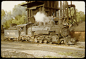 D&amp;RGW #491 K-36 at coaling tower. Sand dome being filled.<br /> D&amp;RGW  Chama, NM