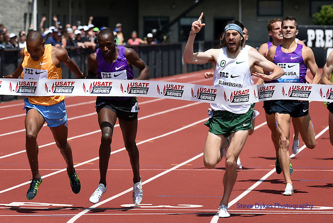 Ben Blankenship of the USA crosses the finish line to win the Men's International Mile on the final day of the Prefontaine Classic at Hayward Field in Eugene, Oregon, USA, 30 MAY 2015. (EPA photo by Steve Dykes)