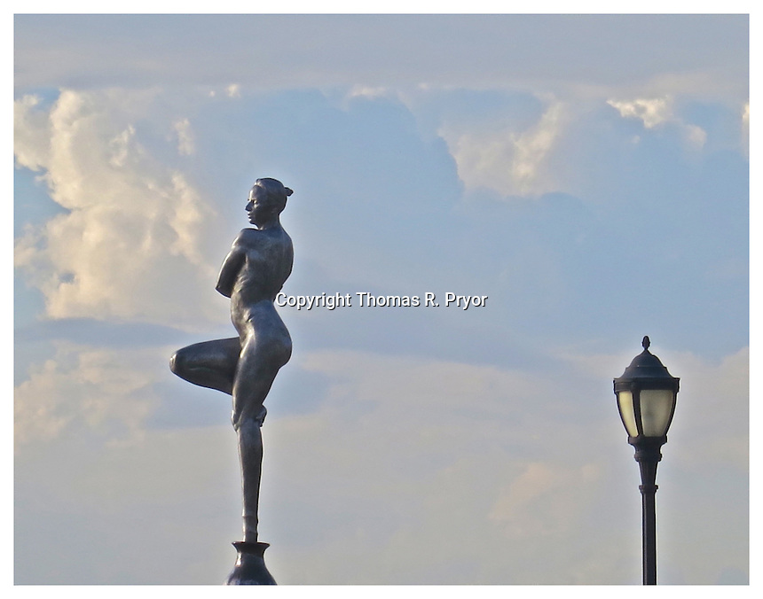 NEW YORK, NY - JUNE 23: Photograph of ballerina statue on the Hudson River on 66th Street in New York, New York on June 23 2013. Photo Credit: Thomas R. Pryor