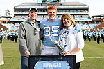 CHAPEL HILL, NC - NOVEMBER 18: UNC's Chris Ripberger was honored as part of Senior Day pregame activities. The University of North Carolina Tar Heels hosted the Western Carolina University Catamounts on November 18, 2017 at Kenan Memorial Stadium in Chapel Hill, NC in a Division I College Football game. UNC won the game 65-10.