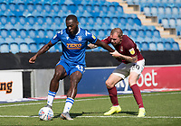 Frank Nouble of Colchester United holds the ball up under pressure from Nicky Adams of Northampton Town during Colchester United vs Northampton Town, Sky Bet EFL League 2 Football at the JobServe Community Stadium on 24th August 2019