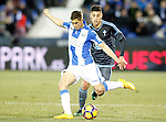 CD Leganes' Alexander Szymanowski (l) and Celta de Vigo's Alvaro Lemos during La Liga match. January 28,2017. (ALTERPHOTOS/Acero)