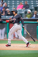 Josh Fuentes (7) of the Albuquerque Isotopes bats against the Salt Lake Bees at Smith's Ballpark on April 24, 2019 in Salt Lake City, Utah. The Isotopes defeated the Bees 5-4. (Stephen Smith/Four Seam Images)