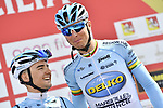 Delko Marseilles Provence KTM team at sign on before the start of Stage 4 of Il Giro di Sicilia 2019 running 119km from Giardini Naxos to Mount Etna (Nicolosi), Italy. 6th April 2019.<br /> Picture: LaPresse/Fabio Ferrari | Cyclefile<br /> <br /> All photos usage must carry mandatory copyright credit (&copy; Cyclefile | LaPresse/Fabio Ferrari)