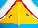 "The ""eyes of osiris"" adorn a traditional Maltese fishing boat in Marsaxlokk Bay, Malta."
