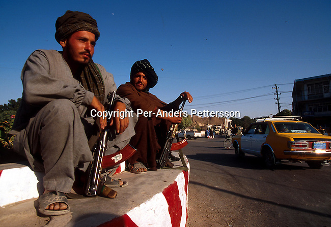 Unidentified Taliban soldiers on July 20, 1996 in central Herat, Afghanistan. They took over most of the country in 1996, and have enforced strict muslim sharia law in the country. Women are not allowed to work or go to school cinemas and most sports have been banned..Photo: Per-Anders Pettersson/ iAfrika Photos