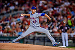 21 September 2018: New York Mets pitcher Jacob deGrom on the mound against the Washington Nationals at Nationals Park in Washington, DC. deGrom notched his 9th win of the season as the Mets defeated the Nationals 4-2 in the second game of their 4-game series. Mandatory Credit: Ed Wolfstein Photo *** RAW (NEF) Image File Available ***