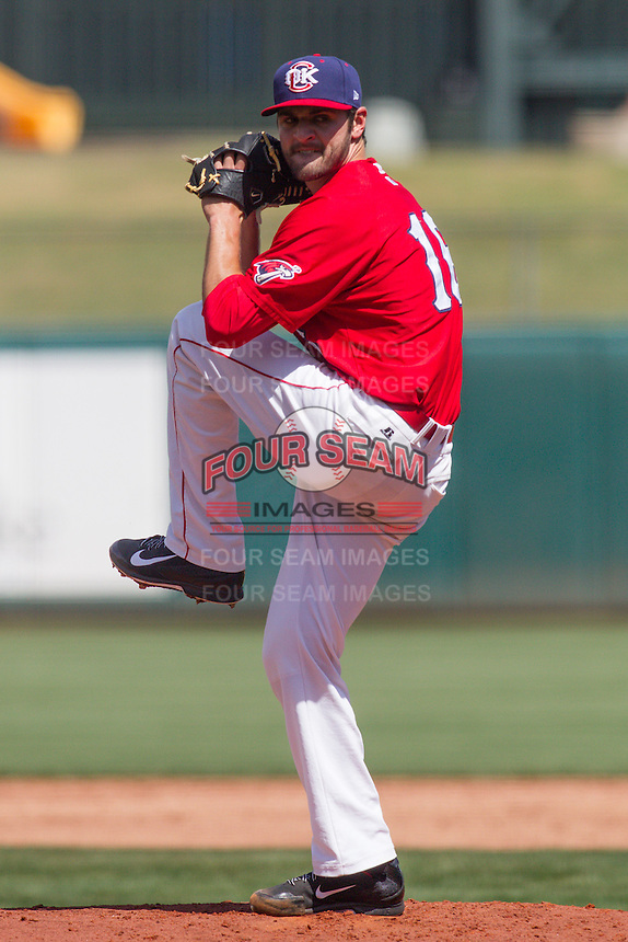 Oklahoma City RedHawks pitcher Nick Tropeano (16) on the mound during the Pacific League game at the Chickasaw Bricktown Ballpark against the New Orleans Zephyrs on April 13, 2014 in Oklahoma City, Oklahoma.  The RedHawks defeated the Zephyrs 4-3.  (William Purnell/Four Seam Images)