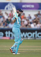 Jonny Bairstow (England) acknowledges his half century during England vs New Zealand, ICC World Cup Cricket at The Riverside Ground on 3rd July 2019