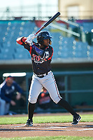 Lake Elsinore Storm first baseman Olivier Basabe (9) during a California League game against the Lancaster JetHawks on April 10, 2019 at The Hanger in Lancaster, California. Lake Elsinore defeated Lancaster 10-0 in the first game of a doubleheader. (Zachary Lucy/Four Seam Images)