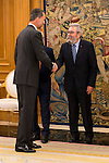 King Felipe Vi of Spain during Royal Audience with the social Partners Signing of Aagreemen for employment and collective bargaining 2015, 2016 and 2017 at Zarzuela Palace in Madrid, July 27, 2015.<br />  (ALTERPHOTOS/BorjaB.Hojas)