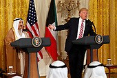 United States President Donald J. Trump and Amir Sabah al-Ahmed al-Jaber al-Sabah of Kuwait hold a joint news conference in the East Room of the White House, in Washington, DC on September 7, 2017.<br /> Credit: Martin H. Simon / CNP