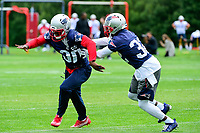 June 7, 2017: New England Patriots defensive end Devin McCourty (32) (right) covers defensive back Duron Harmon (30) at the New England Patriots mini camp held on the practice field at Gillette Stadium, in Foxborough, Massachusetts. Eric Canha/CSM