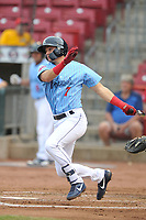 Cedar Rapids Kernels third baseman Andrew Bechtold (7) swings against the South Bend Cubs at Veterans Memorial Stadium on May 1, 2018 in Cedar Rapids, Iowa.  (Dennis Hubbard/Four Seam Images)