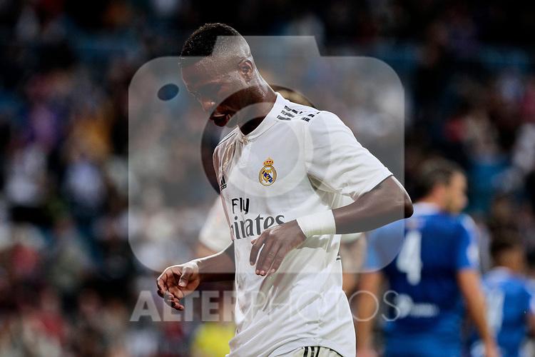 Real Madrid's Vinicius Jr. celebrates goal during Copa del Rey match between Real Madrid and UD Melilla at Santiago Bernabeu Stadium in Madrid, Spain. December 06, 2018. (ALTERPHOTOS/A. Perez Meca)