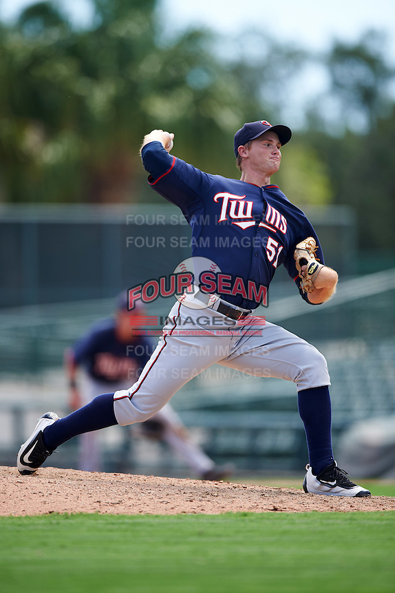 GCL Twins relief pitcher Callan Pearce (51) during a game against the GCL Orioles on August 11, 2016 at the Ed Smith Stadium in Sarasota, Florida.  GCL Twins defeated GCL Orioles 4-3.  (Mike Janes/Four Seam Images)