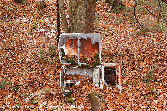 Beebe River Railroad - Old refrigerator along the Beebe River drainage in Sandwich, New Hampshire USA. This railroad was an logging railroad.