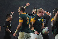 Richie McCaw of New Zealand shows how much it means to get into the Final of the Rugby World Cup 2015 after beating South Africa 20-18 - 24/10/2015 - Twickenham Stadium, London<br /> Mandatory Credit: Rob Munro/Stewart Communications