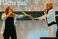 Alexe Gaudreault and Marjo perform at the St-Jean Baptist show on the Plains of Abraham in Quebec City during the Fete nationale du Quebec, Friday June 23, 2017.