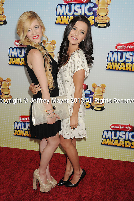 LOS ANGELES, CA- APRIL 27: Singers Liz Mace and Megan Mace arrive at the 2013 Radio Disney Music Awards at Nokia Theatre L.A. Live on April 27, 2013 in Los Angeles, California.