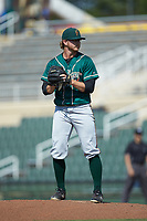 Greensboro Grasshoppers relief pitcher Conner Loeprich (44) looks to his catcher for the sign against the Piedmont Boll Weevils at Kannapolis Intimidators Stadium on June 16, 2019 in Kannapolis, North Carolina. The Grasshoppers defeated the Boll Weevils 5-2. (Brian Westerholt/Four Seam Images)