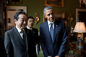 United States President Barack Obama and Prime Minister Yoshihiko Noda of Japan wait in the Green Room of the White House before the start of their press conference in the East Room, April 30, 2012. .Mandatory Credit: Pete Souza - White House via CNP