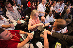 © Joel Goodman - 07973 332324 . 24/09/2013 . Brighton , UK . A ballot box is passed through the audience as delegates vote on the morning's discussions . Day 3 of the Labour Party 's annual conference in Brighton . Photo credit : Joel Goodman