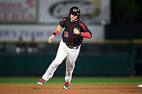 Rochester Red Wings first baseman Matt Hague (13) running the bases during a game against the Buffalo Bisons on August 25, 2017 at Frontier Field in Rochester, New York.  Buffalo defeated Rochester 2-1 in eleven innings.  (Mike Janes/Four Seam Images)