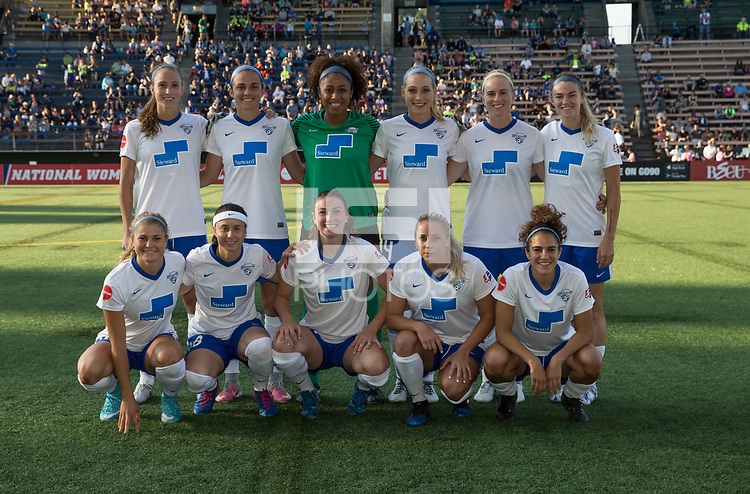 Seattle, WA - Saturday July 15, 2017: Boston Breakers starting XI during a regular season National Women's Soccer League (NWSL) match between the Seattle Reign FC and the Boston Breakers at Memorial Stadium.