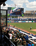 HARTFORD,  CT-071818JS12--Fans try to get on the Rally Cam during the Yard Goat's game against Reading on Wednesday afternoon at Dunkin Donuts Park in Hartford.<br /> Jim Shannon Republican American