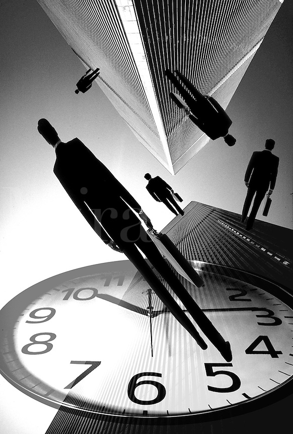 Businessmen with clock and skyscraper..