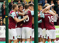 Burnley's Jeff Hendrick (2nd left) is mobbed by team-mates after scoring the opening goal<br /> <br /> Photographer Rich Linley/CameraSport<br /> <br /> The Premier League - Burnley v Everton - Saturday 5th October 2019 - Turf Moor - Burnley<br /> <br /> World Copyright © 2019 CameraSport. All rights reserved. 43 Linden Ave. Countesthorpe. Leicester. England. LE8 5PG - Tel: +44 (0) 116 277 4147 - admin@camerasport.com - www.camerasport.com