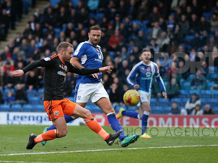 Matt Done of Sheffield Utd goes close during the English League One match at the Proact Stadium, Chesterfield. Picture date: November 13th, 2016. Pic Simon Bellis/Sportimage
